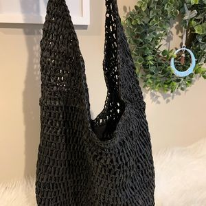 UO Black Straw Tote Bag Brand New